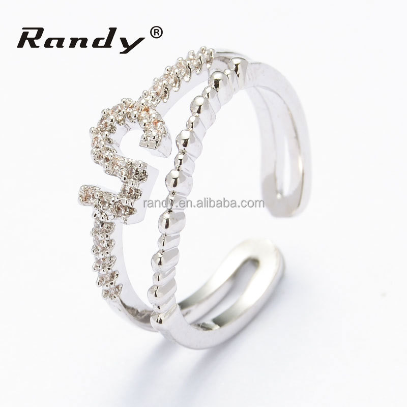 cheap custom jewelry ring simple fashion adjustable cz ring