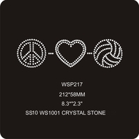 Hot Sellling Crystal Symbol Volleyball Sports Wholesale Rhinestone Designs