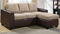 AMERICAN STYLE furniture living room PU LEATHER+ CORDUROY CORNER SOFA GR-9123, 3SEATER SOFA WITH OTTOMAN