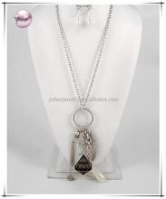 Antique Silver Tone / Black Diamone Acrylic & Cream Synthetic Pearl / Lead&nickel Compliant / Long Angel Wing & Cross Charm Neck