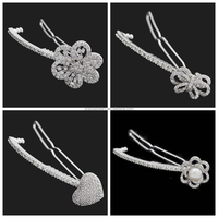 Yiwu Brass Jewelry Manufacturer Wholesale Luxury Rhodium Plating Cubic Zirconia Fashion Butterfly Hair Clips