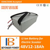 Factory direct saling, high quality electric kick scooter battery, 48V12 to 18Ah battery pack for electric scooters