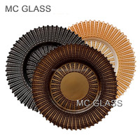 Wholesale Plates Wedding Event Decoration Gold Black Brown Stripe Glass Charge Plate