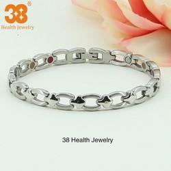 China 4 in 1 Bio Magnetic Titanium Silver Jewelry Bracelet