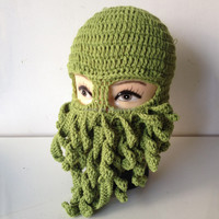 Crazy Knit Octopus Ski Mask Hat