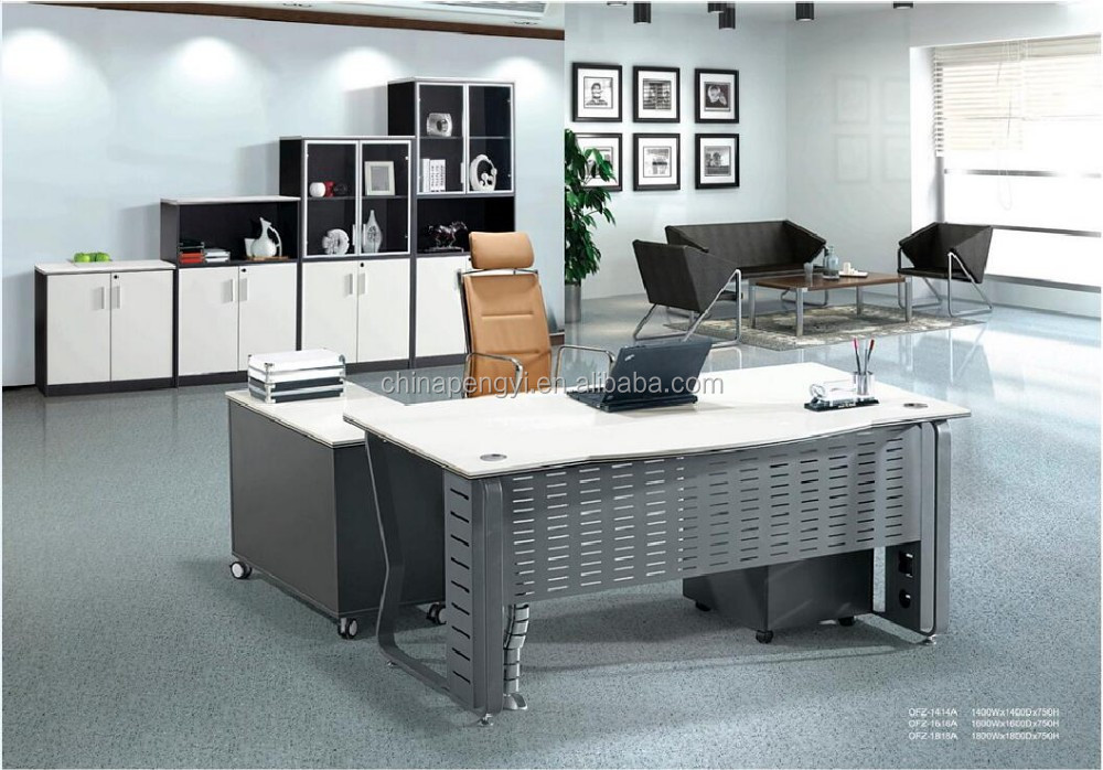 Best Selling High Tech Executive Office Desk/Executive Desk/Chromed  Stainless Steel Office Table .