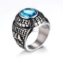 Stainless Steel Army Ring New Model Ring Blue Stone Men Ring KSFN-0643