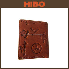 Promotional gift customized debossed embossed logo genuine leather wallet