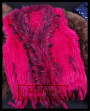 Mosbeer new fashion rex rabbit fur knitting vest with natural raccoon fur collar