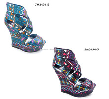 Exotic style geometrical pattern increasing summer wedge comfortable large size women shoes