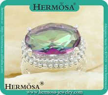 925 Sterling Silver FIRE Mystic Topaz Ring Gemstone Accessory Q6281