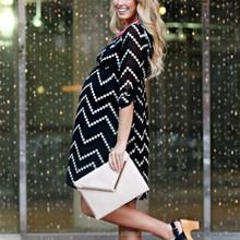 Wholesale maternity clothes Black beige chevron print maternity chiffon dress HSD6343