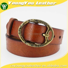 2015 desinger women genuine raw leather belt with delicate bronze embossed buckles