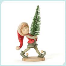 Christmas gift resin elf with christmas tree figurine
