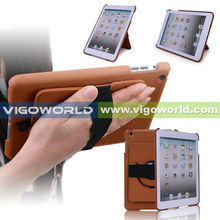 360 rotating and handhold(Brown) PU leather case for iPad mini