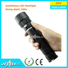 Jexree D04 diving powerful led flashlight new design XM-L 2 rechargable 26650 led torch