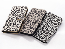 Hot lepoard card holder leather wallet case for samsung galaxy s5