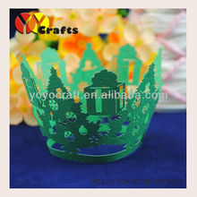 Merry Christmas party decoration filigree Indian Laser cut Christmas tree cupcake wrapper