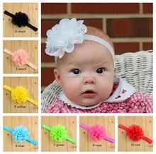 European child tiara pierced wavy chiffon flower elastic headband is equipped with children's newborn headband