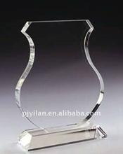 Elegante trofeo de cristal placa, cristal blanco trofeo placa