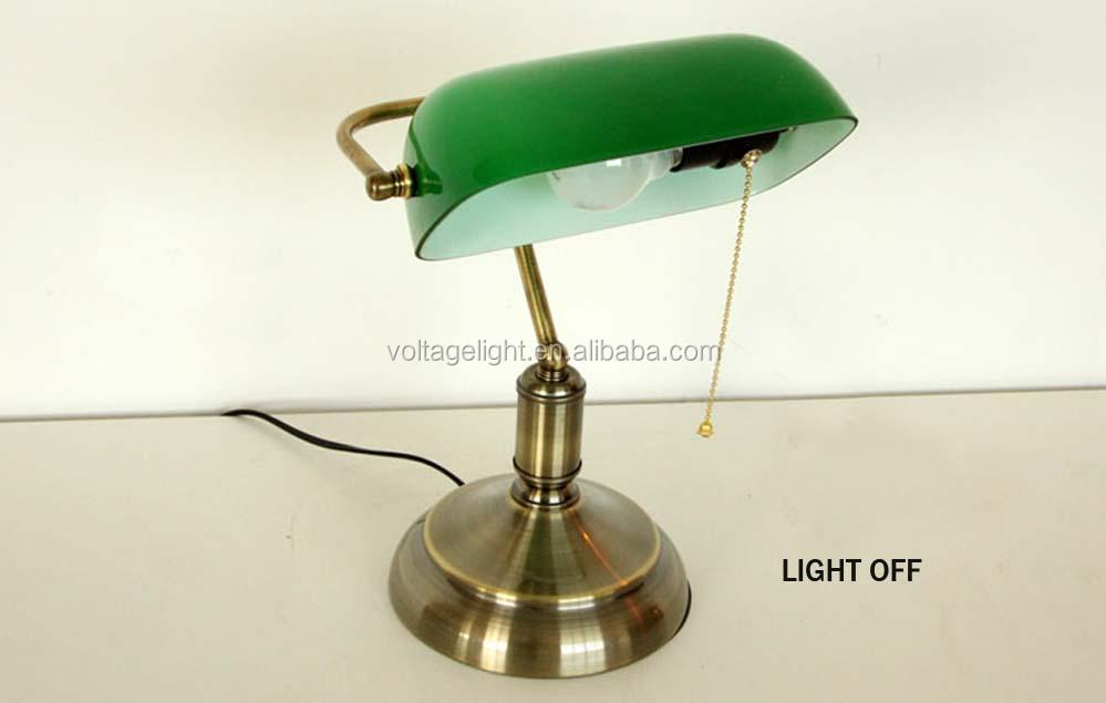 Industrial r tro banker lampe de table laiton m tal base - Lampe de bureau banker ...