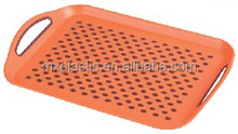 Plastic double non-slip food serving tray with handle
