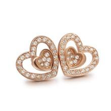 sj bjeb00538 mujeres de plata de doble en forma de corazón de circonio cúbico espárrago pendiente como regalo de la mujer