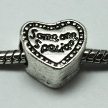 Some one Special Text Heart Shape Zinc Alloy Beads with Round Hole
