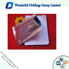 2015 high quality low price aluminum foil silver color three side seal plastic packet