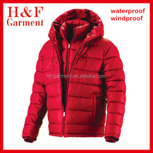 Red Double Layer polyester men's winter jacket with Full fixed hood