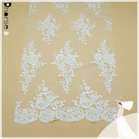 """DHBF569 WHITE MESH W/CORDED FLORAL EMBROIDERY BRIDAL LACE FABRIC 51"""" BY THE YARD"""