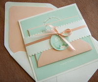 Lovely peach envelope linner and mint cards with colorful printing wedding invitation card &lace band