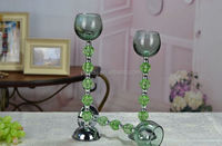 elegant color tall crystal candle holder with bead decoration stem