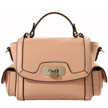2015 Manufacture Wholesale Trendy Popular Women Geniune Leather Handbags Guangzhou with Side Pockets