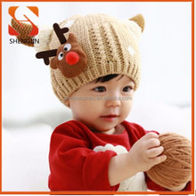 2015 New Year /christmas Products Cute Fashion Knit Kids Hats brown Crochet Baby Hats