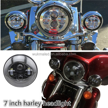 "7"" Motorbike Projector LED Light Bulb Headlight Fit 2012-later FLD 94-13 Touring Harley Wrangler JK 7"" Shape Car"