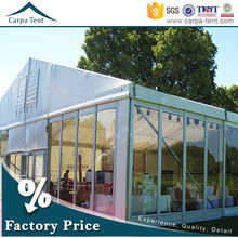Widely Application New Permanently Large Clear Span Tent With Double-Wing Glass Door