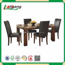 Dark brown wooden frame /foam cushioning /fabric dining chair