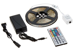 16.4FT Waterproof Flexible Strip Light Kit, 300 Color Changing RGB LEDs w/ IR Remote Controller and 12V5A Power Supply