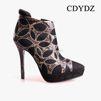 CDYDZ V15531 Women black stitching side zipper Short Boots evening Roman shoes young fashion shoes women 2015 high heel