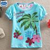 (S286A) Blue 2-6Y wholesale baby girls t shirt summer flower t shirt cute girl short sleeves t shirt new design