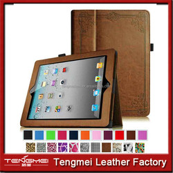 old style case for ipad 4, pattern embossing case for ipad 4, PU leather flip case for ipad 4