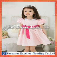 Casual Style Princess Pattern Plain with Bowknot Baby Girls Birthday Dresses