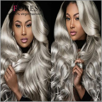 Hot Sale 100% Brazilian Human Hair Body Wave Lace Front Wig Mixed Grey Wig