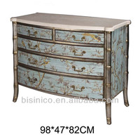 Exquisite Hand Painted Chest of Drawers, Graceful Wooden Side Cabinet With Floral Painting, Antique Home Decorative Furniture