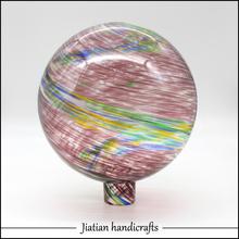 hand blown glass gazing balls purple swirl strip JTGB-2