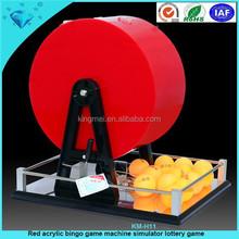Acrílico rojo bingo máquina de juego simulador de juego de lotería