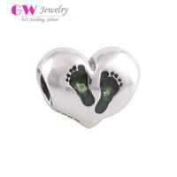 Small Green Enamel Foot Silver Heart Charm Fit European Bracelets