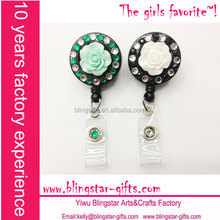 fashion wholesale 360 degree rotation bling rhinestone badge reels