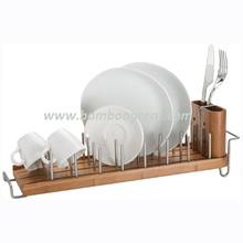 Bamboo Dish Drying Rack with Vertical Stainless Steel Pegs